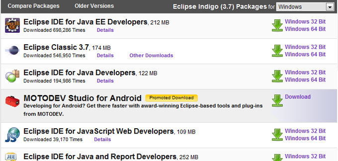 Eclipse Download Page