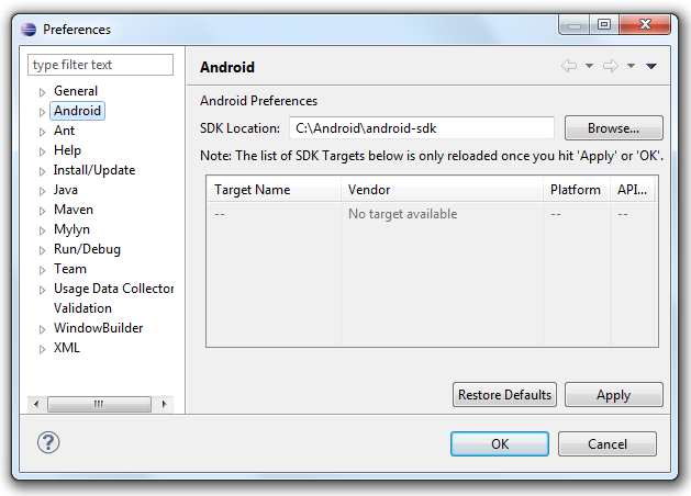 Android Eclipse SDK Path