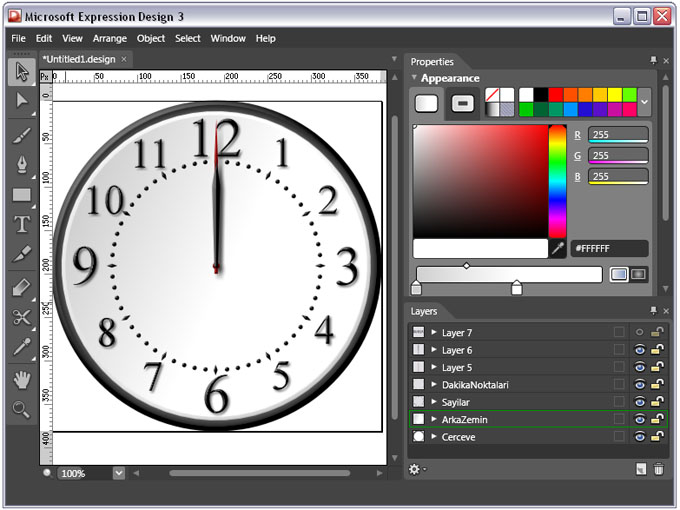 silverlight clock microsfot expression design